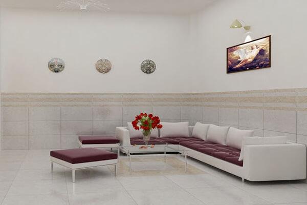 Phòng khách kết hợp cả sơn tường và ốp gạch
