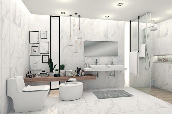 Phòng tắm, phòng vệ sinh được ốp toàn bộ bằng gạch. Tạo cảm giác mát mẻ, hiện đại